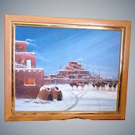 """J.Yazzie """"Horse's in Snow"""" Navajo artist, framed 30""""x 24"""" Oil/Canvas, Signed!"""