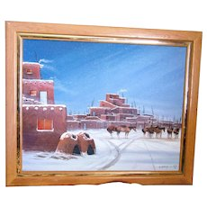 "J.Yazzie ""Horse's in Snow"" Navajo artist, framed 30""x 24"" Oil/Canvas, Signed!"