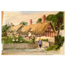 John Corvin English actor/artist Watercolor painting,Anne Hathaway cottage