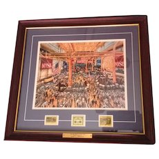 Kamil Kubik print NYSE The big board collector matted Frame 3 postal stamps