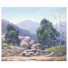 "Fred W Copley orig.oil/board,20""x 16"" California Landscape painting, framed,1956"