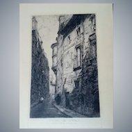 """Louis Orr Original 12.5""""x20"""" Signed Etching USA,1879-1966,Hotel De Sens Paris"""