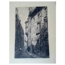 "Louis Orr Original 12.5""x20"" Signed Etching USA,1879-1966,Hotel De Sens Paris"