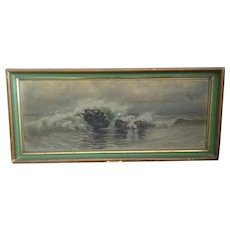 Hudson River School,Breaking Waves, antique framedoil/canvas seascape painting! Unsigned..