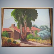 "Sam Hyde Harris 20""x16""O/C,Eucalyptus school painting,purchased from Artist/1956"