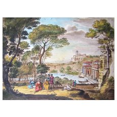 Richard Earlom hand Colored etching/mezzotint after Claude Lorraine 1776,JBoydell