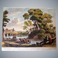 Richard Earlom hand Colored etching/mezzotint after Claude Lorraine 1775,JBoydell