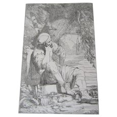 "John Hamilton Mortimer (1740-1779)An original etching  titled ""Reposo"", 1778. Published Dec. 8th, 1778"