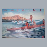 Los Angeles Steamship Co, Waikiki,Kerne Erickson artist,Surfing framed lithograph,1937 advertising art