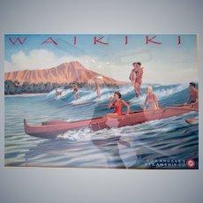 Los Angeles Steamship Co, Waikiki,Kerne Erickson artist,Surfing framed lithograph,1937 advertising art