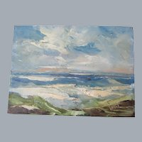 "Derk Smit Santa Barbara Beach scene 8""x 6"" Oil painting on Masonite"