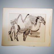 Jirayr Hamparzoom Zorthian a 1960 original Ink wash on artist board of a Bactrian Camel.