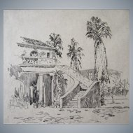 John Wesley Cotton (Canadian/American 1869-1931) Community Playhouse, Pasadena,Ca. etching 1928, signed in pencil