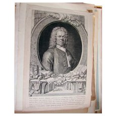 George Holmes, Antique Etching by G. Vertue, 1749, after R. van Bleeck, 1743
