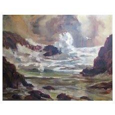 "William D. Dampier (1910-1985) California Impressionist Seascape,24""x20"" O/C, Los Angeles artist."