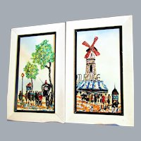 Elmo Gideon 1924-2010, pair of 3-D impressionist paintings on moulded plastic