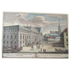 Johann Adam Delsenbach original Hand Colored Nuremberg Germany copper plate Engraving