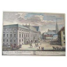 Johann Adam Delsenbach original Hand Colored Nuremberg Germany copper plate Engraving