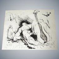 Francisco Grippa Peruvian artist Original Limited Edition signed,# 103/165, The Bohemian,
