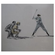 """Guillermo Zuniga """"Baseball"""" colored Etching, limited edition 25/500, Unframed, print,"""