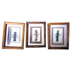 3 Ross Wersonick Hand made Native American Kachinas in shadowbox displays