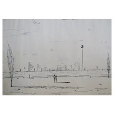 """Kenneth Stancin Surrealist Pencil Signed, Numbered Litho """"visions in solitude"""" 23/100"""