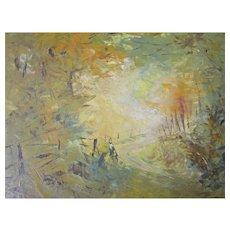 """Viola M. Allen 14""""X 11"""" oil/Masonite bucolic landscape scene California artist"""