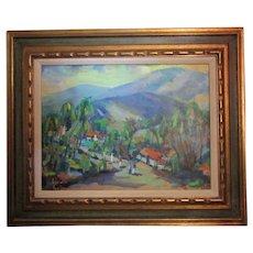 Louis Levine (1915-1993) American,Oil/Masonite Bucolic Impressionism framed