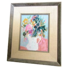 Elaine Helbock still life with Flowers oil/Masonite framed, California artist
