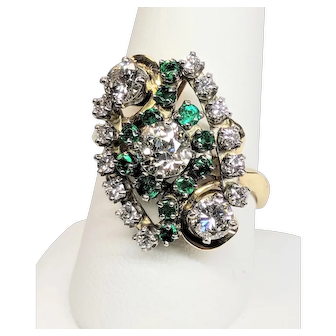 Estate Lady's 14KY and Platinum Diamond and Emerald Ring