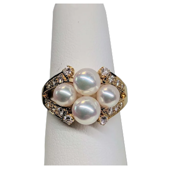 18KY Mikimoto Cultured Pearl Ring