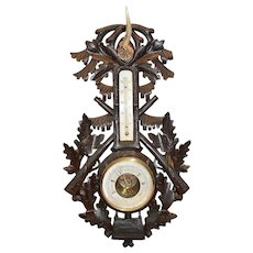 Antique Black Forest Large Carved Wood Barometer Hunt Style Deer Antler
