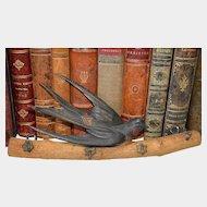 Antique German Carved Wood Bird Hook Key Rack