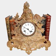 Antique French Gilt Figural Mantel Clock Brunfaut
