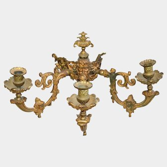 Antique French Ormolu Figural 3 Arm Candle Holder Sconce Gas Light