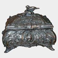 Antique Art Nouveau German WMFB Trinket Jewelry Box with Bird