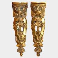 Antique French Ormolu Bronze Pediments Pair Winged Bird Griffin