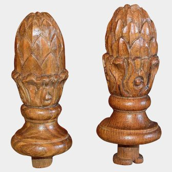 Antique French Carved Wood Finials Pair Artichoke or Pinecone