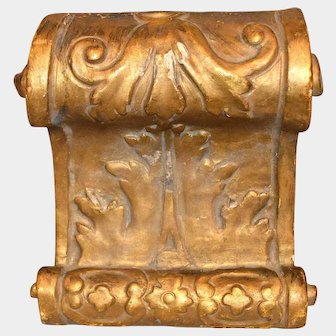 Antique French Gilded Carved Wood Corbel