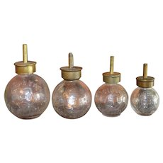 Antique French Paris Set of 4 Glass Grease Oil Bottles