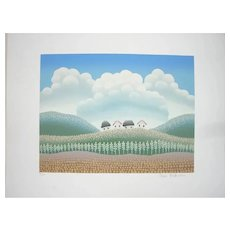 Russian Farm - Original Serigraph by Ivan Rabuzin