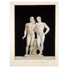 Group of Mercury and Vulcan - Original Etching by Giovanni Brunetti da Ravenna 1793
