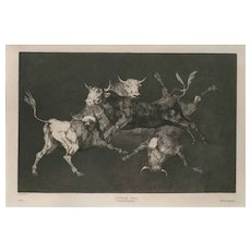 Lluvia De Toros Francisco, Original Print by Goya