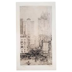 New York, Courtland Street - Original Etching by Jean-Emile Laboureur, 1908