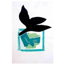 Si Je Mourais là-bas: one plate - Original Woodcut by Georges Braque - 1962