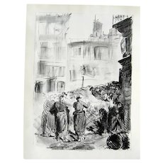 Original Ancient Lithography by E. Manet