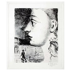 Portrait, Original Surrealist Etching by Paul Delvaux