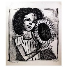 Woman with Sunflower - Original Lithograph by Otto Dix - 1958