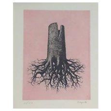 La Folie Almayer ou L'Arbre Rose - Original Etching After René Magritte - 1968
