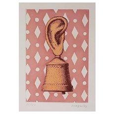 La Leçon de Musique, Son de Cloche - Original Etching by René Magritte, 1968